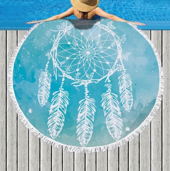 Desen Baskılı Yuvarlak Püsküller Ile Mikrofiber Plaj Havlusu 150 cm Yaz Yüzme Piknik Mat Goblen Seyahat Battaniye H276