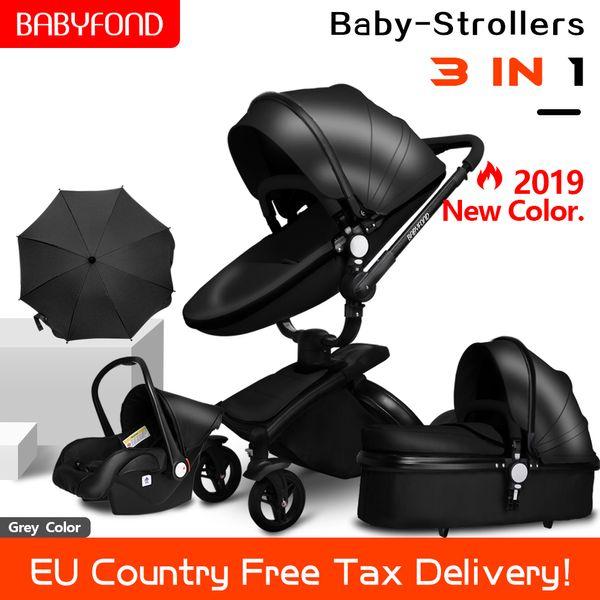 Schnelle Lieferung! Kinderwagen faltbare Zwei-Wege-Push-Luxus-Hochlandschaft 3 in 1 Kinderwagen mit Autositz und Geschenken Regenschirm