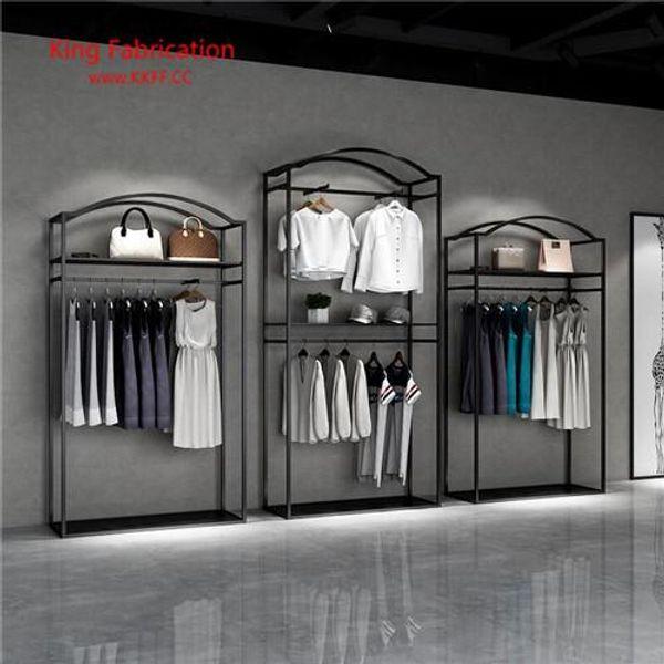 Présentoir de magasin de vêtements double cintres étagères de magasin de vêtements pour hommes et femmes