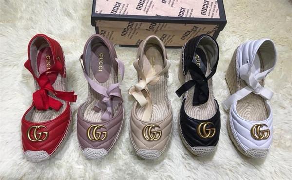 Mocassins de couro de senhoras clássicas, cunhas de Espadrille, solas de tecido de grama casuais sapatos terno de senhoras, adequado para o uso diário