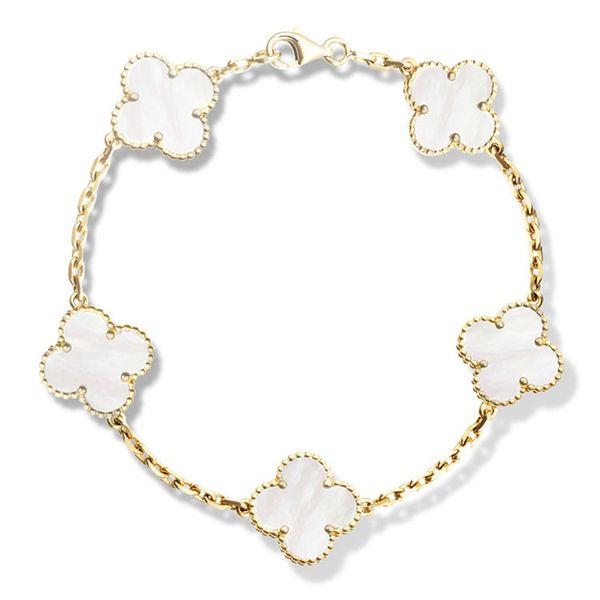 Bracelets trèfle à quatre feuilles en or 18K avec logo à boucle Onyx noir naturel Sardonyx agate blanche