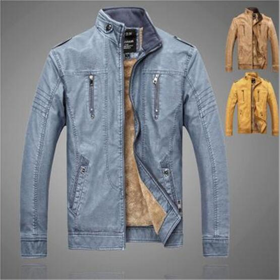 Men's autumn and winter bull thin section motorcycle leather Korean version of the slim leather jacket tide men's leather jacket