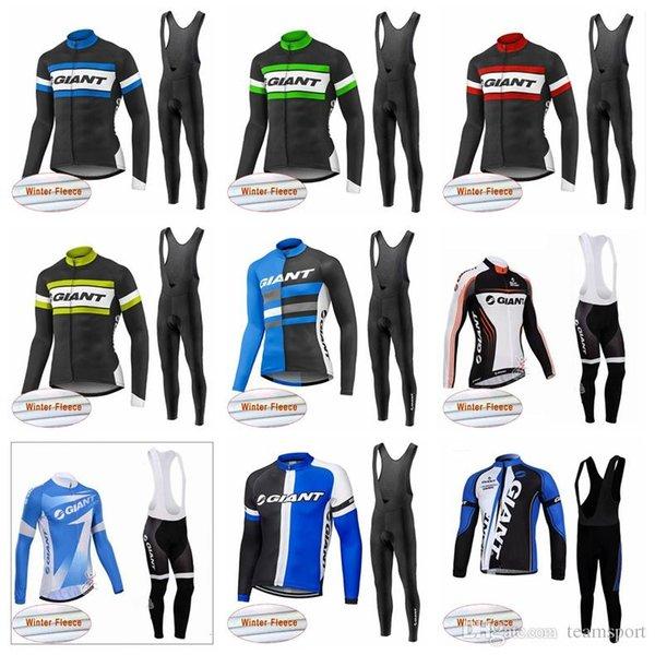 GIGANTE equipe Ciclismo Inverno Térmica Velo jersey bib calças conjuntos de proteção Fria manter quente e confortável conjuntos de roupas de bicicleta 841420
