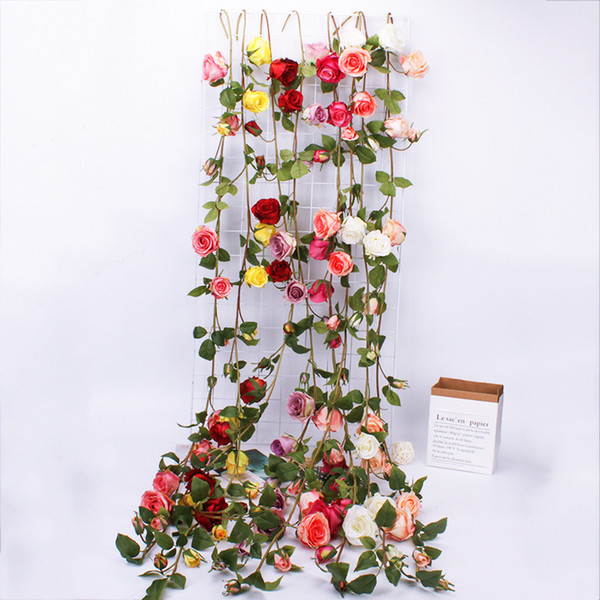 3 Strings 153cm Artificial Rose Flower Ivy Vine Wedding Decor Real Touch Silk Flowers String With Leaves Home Hanging Garland