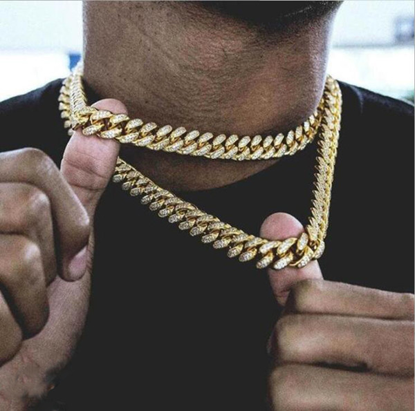 Cadena de oro para hombre Hip Hop18MM. Cadena de collar de cadena Iced Out. Enlace cubano. Collar de moda punk. 18,20, 24,30 pulgadas.