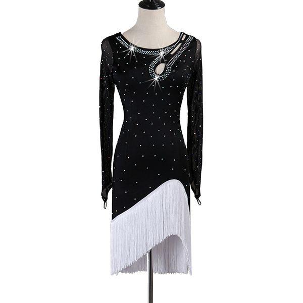 Salsa Dance Dress Latin Dance Dress Women Sale Samba Flapper Luxury Rhinestones D0541 Tassels Hem Long Mesh Sleeve