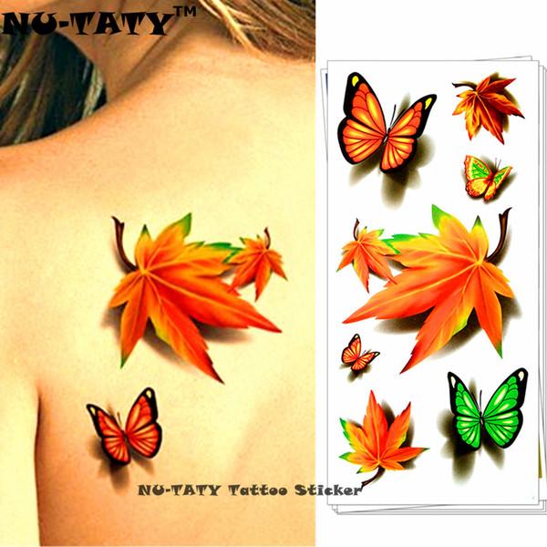 Nu Taty Trébol De Hoja De Arce 3d Tatuaje Temporal Arte Corporal