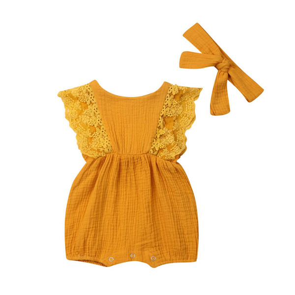 2019 Baby Girl Lace Romper Newborn Kids Clothes Summer Toddler Infant Soft Cotton Romper+Headband Jumpsuit Princess Outfit