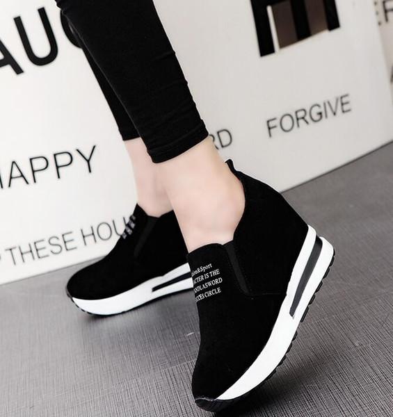 İlkbaharda yabani Kore versiyonu çörek kama kalın bir dipli bayan ayakkabıları rahat orta topuklu ayakkabı artırmak için