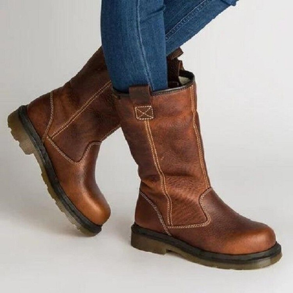Damen Großhandel Plattform Schuhe Chaussures Von Pu Mitte Vintage Winter Reitstiefel Frauen Halten Femme Botines Mujer Wade Warme Leder Stiefel PkN8wOXn0