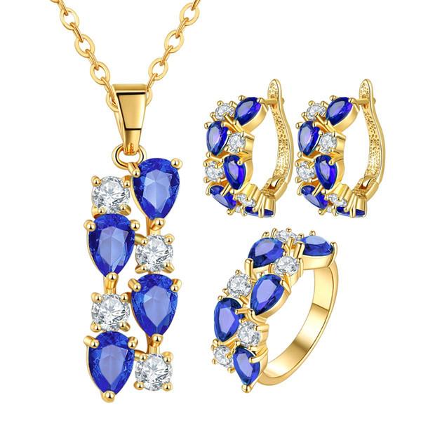 Mona Lisa trois pièces ensemble Zircon Collier Bague Boucles d'oreilles bijoux de mariée Super Value Set bijoux de luxe avec boîte