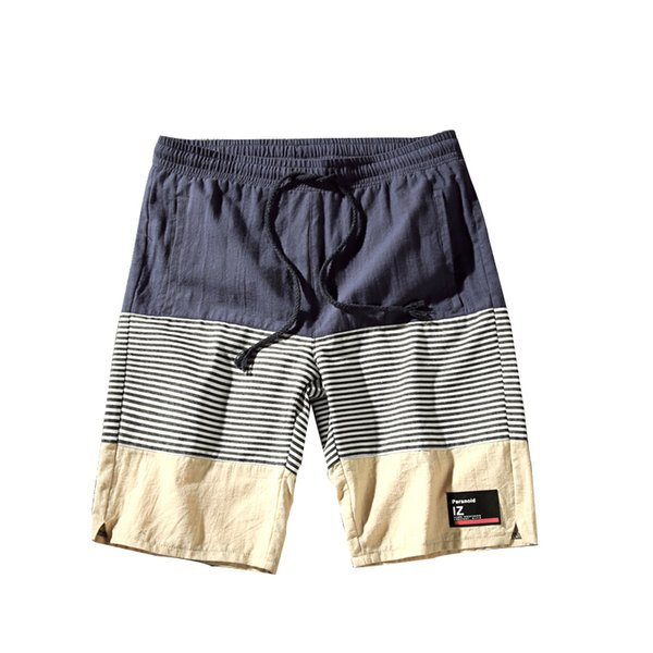 2019 fashion Color collision New pattern Splicing Man shorts Five points shorts Pure cotton Plus Size Easy Man Leisure