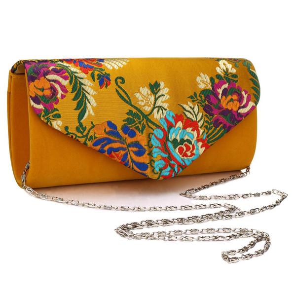 Pochette in pelle scamosciata vintage Borsa a tracolla con fiori ricamati da sposa Con borse a tracolla da sera Sling Frizioni gialle da donna Femininos