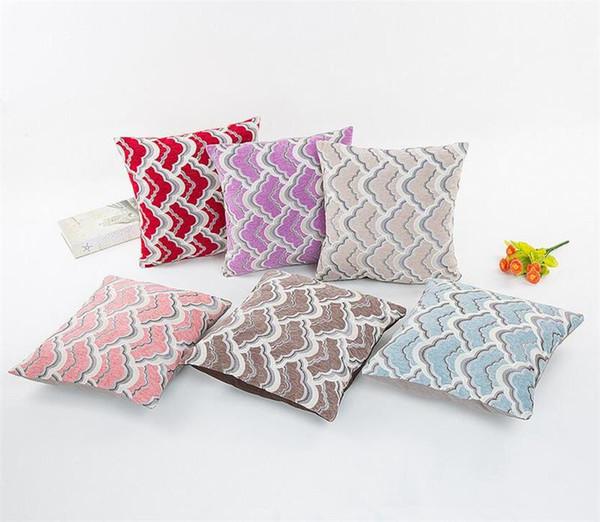 Nueva Cojín para inclinarse en el tejido de la funda de almohada cuadrada ola de mar raya funda de almohada del spandex decora sofá en casa salón de 6 colores 40x40C