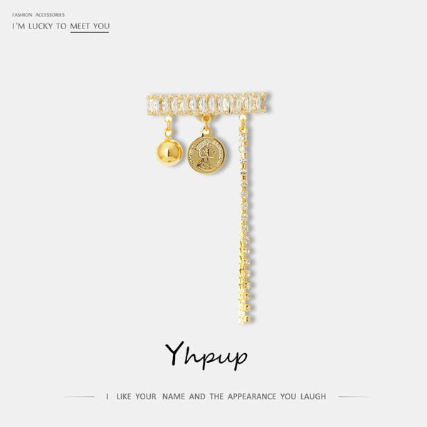 Yhpup Trendy Persönlichkeit Luxus CZ lange Quaste Kette Broschen Runde Geometrische Münze Porträt Frau Brosche für Frauen Kleidung Geschenk
