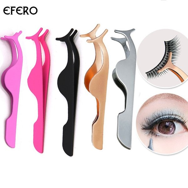 5color Eyelash Tweezers Stainless Steel False Eyelash Curler Clip Fake Eye Lash Applicator Extension Curling Makeup Tool