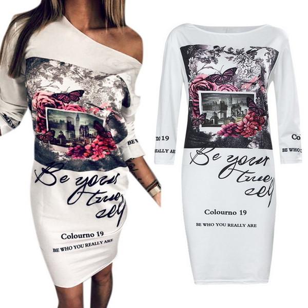 Fashion 2018 Spring Summer Women Dress Half Sleeve Floral Printed Vintage Vestidos Elegant Bodycon Party Dress Women Y19012201