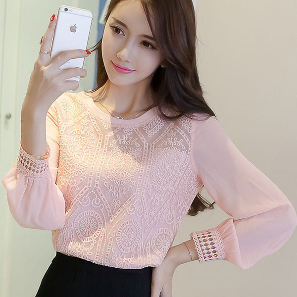 Women Spring Autumn Style Lace Blouses Shirts Lady Casual O-Neck Long Sleeve Lace Blusas Tops DF3017