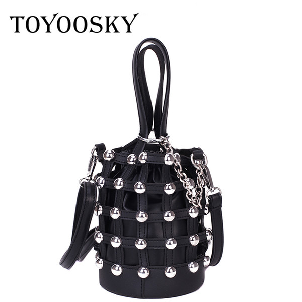 toyoosky rivets bucket bag studded evening party purse personality design hollow out handbags rock style mini crossbody bags - from $21.97