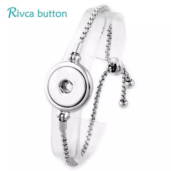 Gros- 6pcs / lot réglable bouton-pression Bracelet 18mm métal bouton-pression Charmes Bijoux Bracelet pour les femmes boutons-pression Bijoux P01036