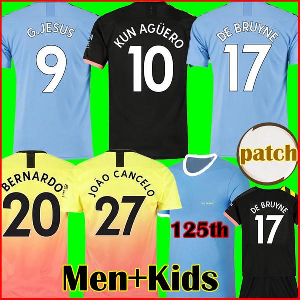 RODRIGO 19 20 MANCHESTER CITY camiseta de fútbol G.JESUS DE BRUYNE KUN AGUERO camisetas 2019 2020 camiseta de fútbol KIT camiseta de KIT de adultos y niños