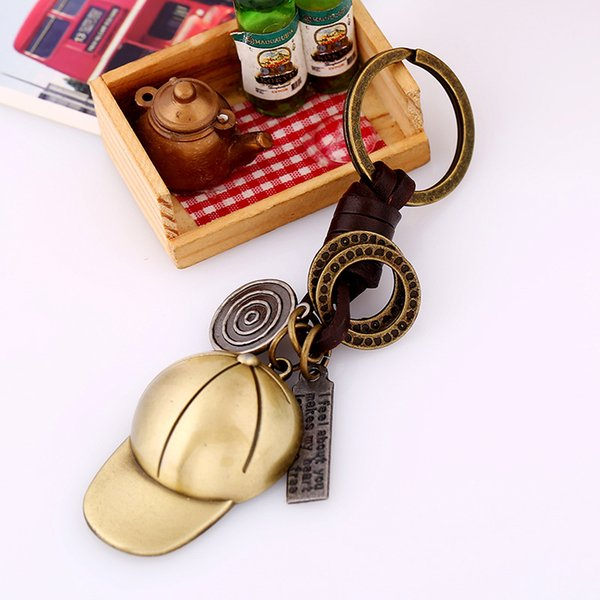 fashion Key Chain Accessories Punk Vintage Couple Lover Key Ring PU Leather Ball Hat Pattern Car Keychain Jewelry Bag Charm Porte Clef