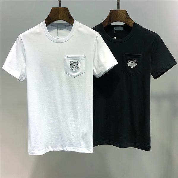 2019 nuova maglietta da uomo firmata da uomo di moda stampa da uomo traspirante anti-pilling camicia a maniche corte camicia nera e