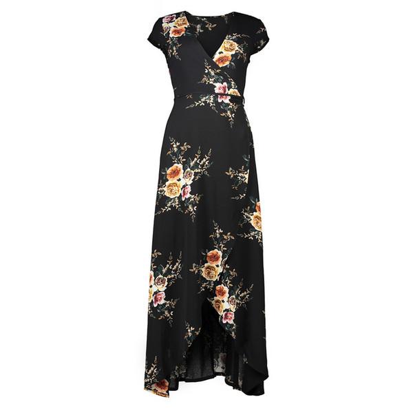 New Summer Dresses for Womens Flower Printed Sexy Beach Split Dress V-neck Chiffon Holiday Long Dress Clothes S-2XL