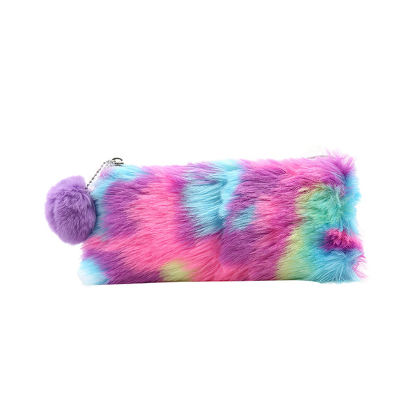 1 Pc Cute Plush School Pencil Case Rainbow Pencilcase For Girls Large Big Pen Bag Stationery Pouch Box Gift School Supplies