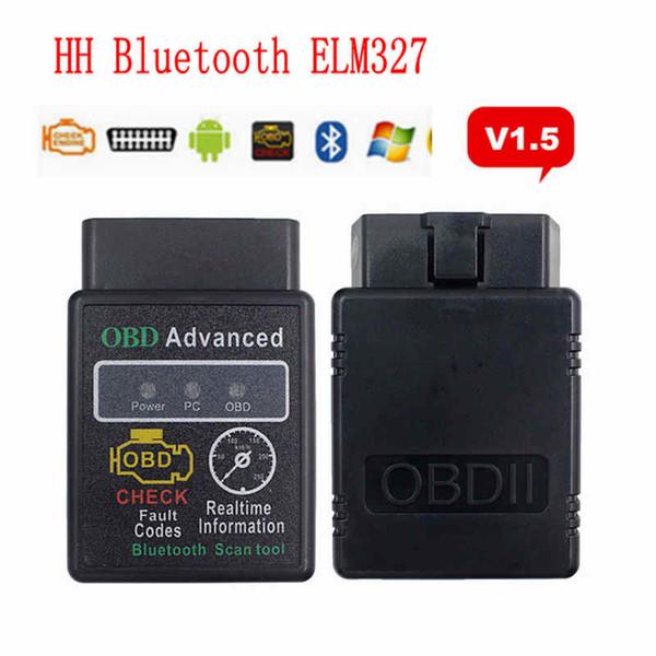 top popular HH OBD ELM327 V1.5 Car Bluetooth Diagnostic Tool OBDII Scanner Code Reader Scan Tools Hot Selling HHA70 2021