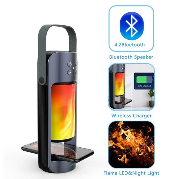 Portable Flame LED Night Light with Bluetooth Speaker Wireless Charger Bass Support T WS SD/USB Plug&Play speaker
