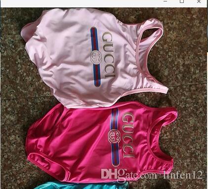 Más vendido de alta gama de una sola pieza del mono del bebé traje de baño de impresión carta traje de baño niños playa ropa 2t-8t moda