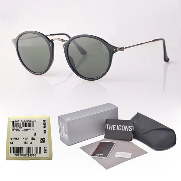 11 Colors Classic Round Sunglasses Men Women Brand Designer Eyewear Glasses Mirrored glass lens Sun glasses uv400 Goggle with cases and box