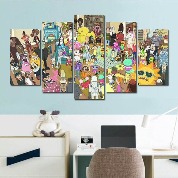 5 Pcs Combinations HD Cartoon Funny Rick and Morty Unframed Canvas Painting Wall Decoration Printed Oil Painting poster