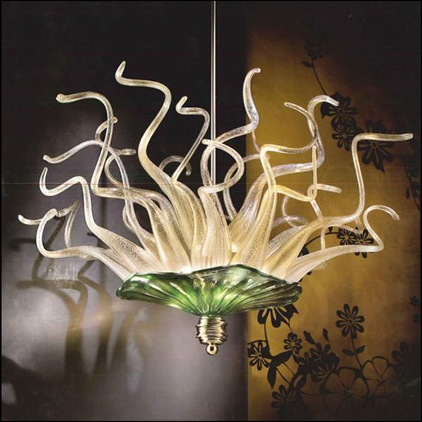 Lámparas de cristal de Murano sopladas a mano 100% Lámparas de vidrio de borosilicato estilo Dale Chihuly de arte Luces de vidrio azul sopladas a mano