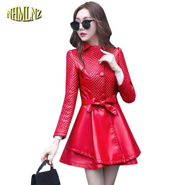 Moda mujer chaqueta de cuero de imitación rojo sexy 2018 nuevo otoño invierno delgado hembras abrigo medio largo elegante prendas de vestir exteriores coreano LY422
