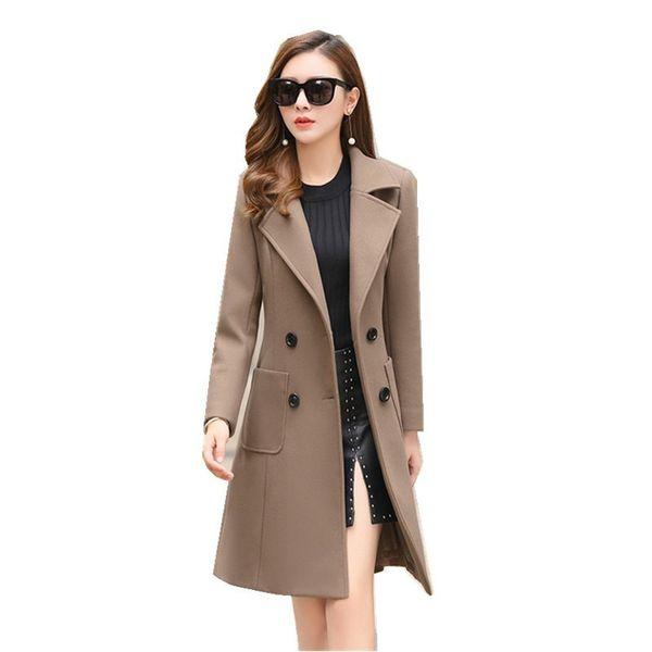 Giacca 2018 nuovo cappotto di lana tuta-abito femminile di modo di inverno lungo Outwear sottile di lana del cappotto del parka soprabito Donne Casacos Mujer