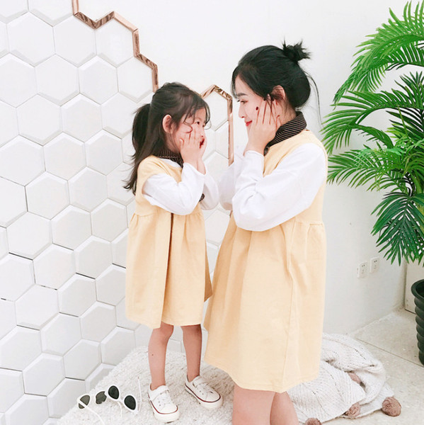 Mother and daughter matching outfits fashion new girls letter printed princess dress kids round collar sleeveless out wear vest dress F5191