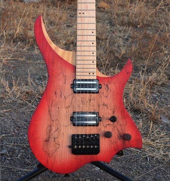 Boutique Marsh Maple Headless Electric Guitar ASH Body Flame Maple Qin Neck Luminous Side Item Flame Maple Fingerboard