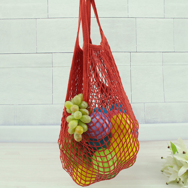 Reusable Grocery Produce Bags 14 Colors Cotton Mesh Ecology Market String Net Shopping Tote Bag Kitchen Fruits Vegetables Hanging Bag