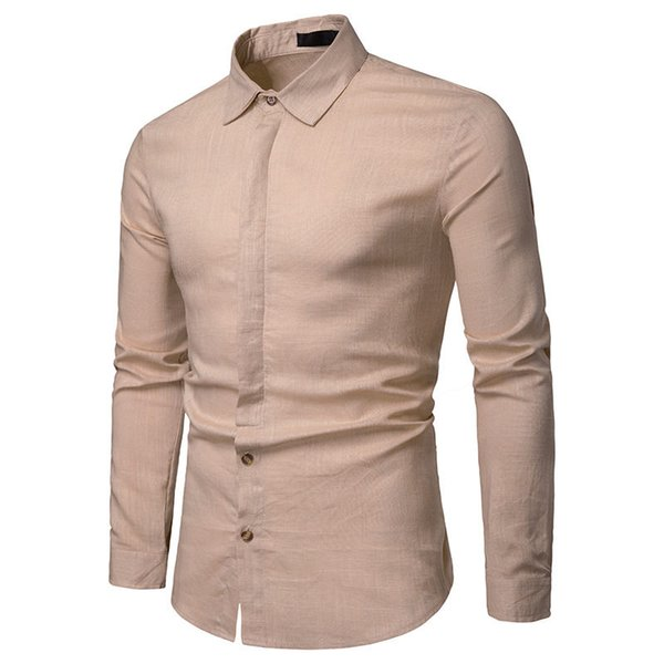 Mens Designer Solid Shirts Homme All Match Single Breasted Shirt Fashion Male Long Sleeve Casual Tops