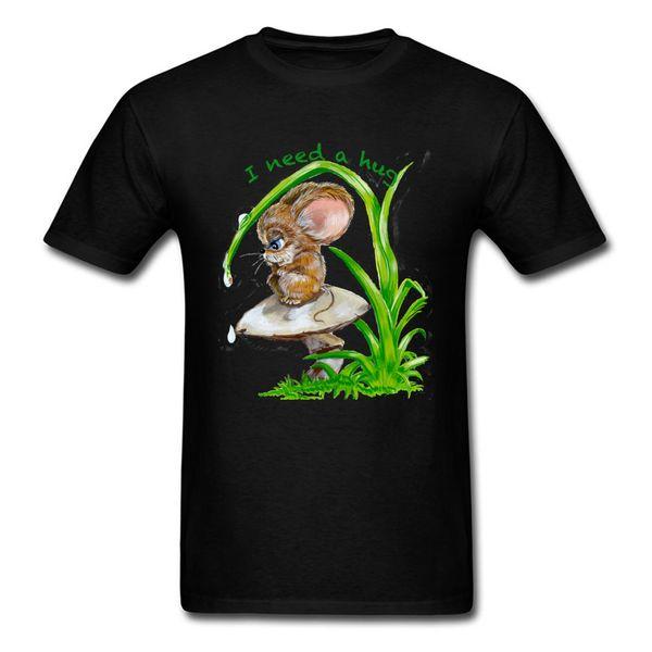 Black T Shirt For Man Hug Need Tshirt Lonely Mouse Print T-shirts Summer Kawaii Tops Tees Custom Adult Clothes Cotton Fabric