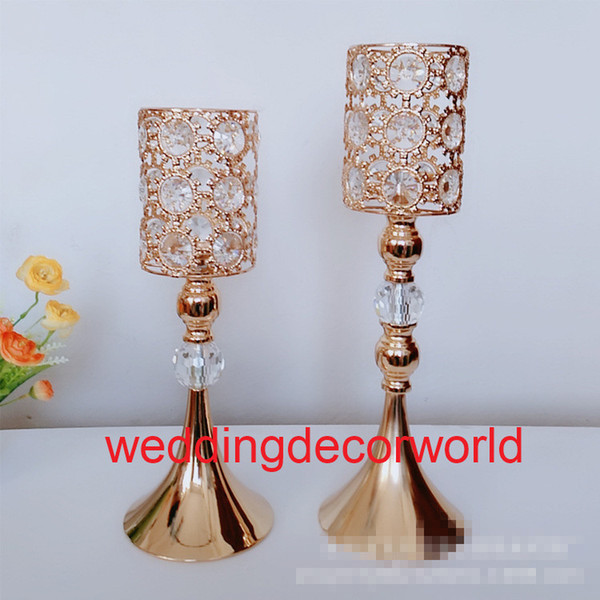 New stylCrystal Candle Holder Wedding Candelabra Centerpieces Center Table Candlesticks Party Decor Lantern stand Silver/Gold home decor0809