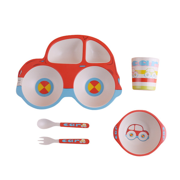 Cartoon Car Plate Cup Spoon Fork Kit Unbreakable Children Tableware Bamboo Fiber Plate Bowl Eco Friendly BPA Free DEC492