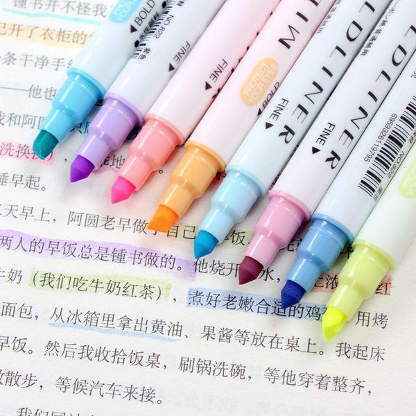 12 Colors/set Japanese Mildliner Pens Milkliner Double Headed Fluorescent Pen Cute Art Highlighter Drawing Mark Pen Stationery