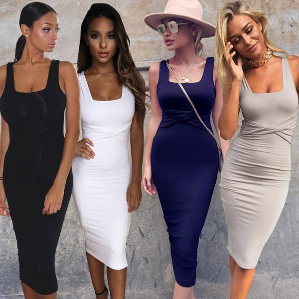 Mulheres sexy clube vestidos bandage branco bodycon tanque dress slim fit mangas de algodão roupas de verão 2 camadas mini festa vestido blanco