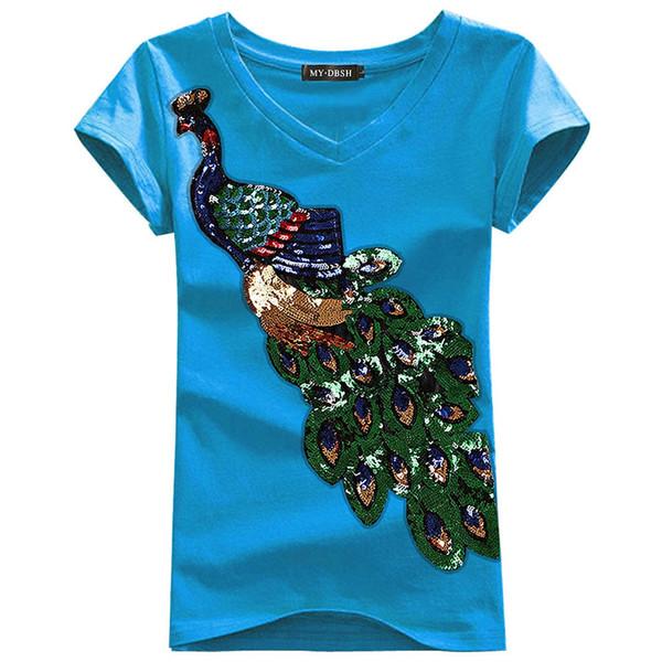 Pop2019 Charm Peacock Paillette Short Sleeve T Pity Korean Sexy Joker Jacket Summer Clothes Woman T-shirt.