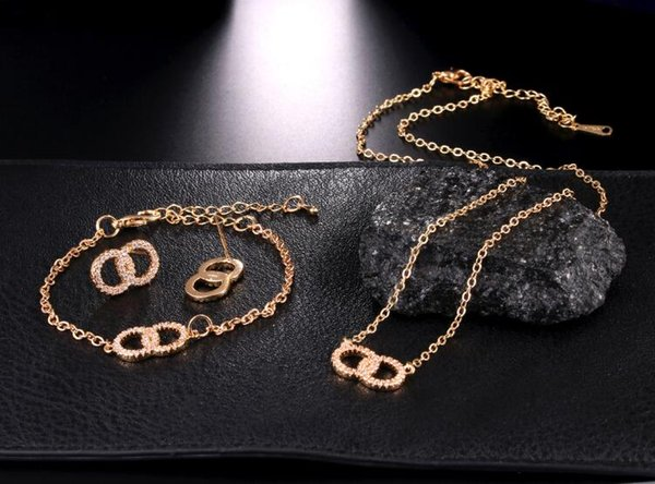 2019 new shelves European and American jewelry foreign trade copper jewelry zircon 8 word earrings necklace pendant bracelet set 1562