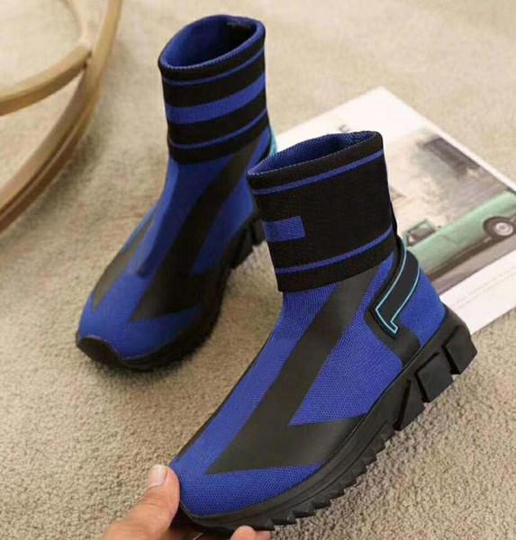 Sorrento deisgner Hommes Femmes montantes chaussures de marque Stretch-tricot Bottes formateur avec la plate-forme du talon Rouge Bleu Noir Chaussures 35-46 S10