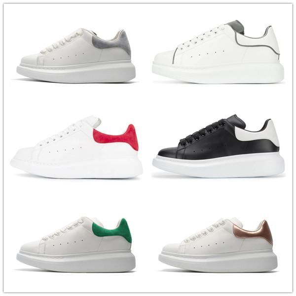 2019 Новый Дизайнер Роскошные белые кожаные повседневные туфли для девочек, женщин, мужчин, черного золота, красного цвета, удобные плоские кроссовки, размер евро 35-44